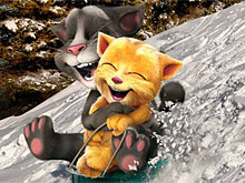Talking Tom and Ginger Sledging
